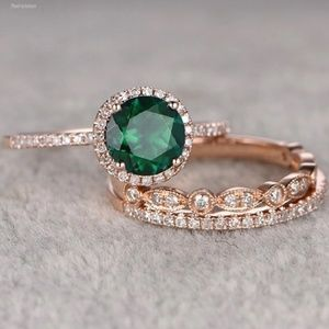 Victorian Rose Gold & Emerald  3 pc. Stacking Ring